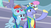 Bow and Windy wearing Rainbow paraphernalia S7E7