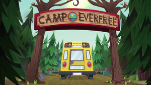 CHS bus drives through the Camp Everfree entrance EG4.png