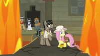 Caballeron and Fluttershy surrounded by lava S9E21