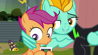Lightning puts a wing around Scootaloo S8E20