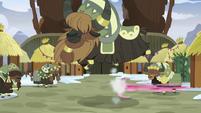 Pinkie Pie speeds away from Yakyakistan S8E3