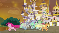 Pinkie and AJ tie up Sombrafied ponies S9E2