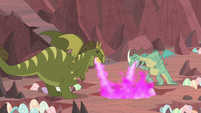 Rex and Viverno breathing laugh fire S9E9