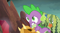 Spike steps in front of Rarity S6E5
