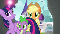 Twilight, Spike, and Applejack enter the tunnels S9E4