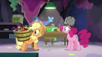 Applejack holding a basket of apples S7E23