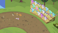 Crowd watching Sweetie Belle and her sister run S02E05