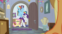 Fluttershy, RD, and Rarity look inside the office BGES3