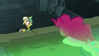 Pinkie Pie diving toward the pool of slime S7E18