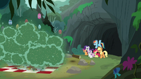 Pony sisters look at the Fly-der-swarmed camp S7E16