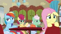 Rainbow Dash annoyed; Fluttershy worried S6E11