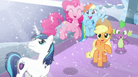 Shining, Pinkie, RD, AJ, and Spike happy seeing Flurry Heart S6E2