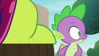Spike sees Princess Ember down the road S7E15
