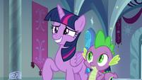 Twilight Sparkle grins unconvincingly S9E4