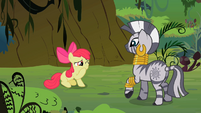 Apple Bloom holding her mouth closed in pain S2E6