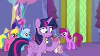 Discord appears in Twilight's punch cup S7E1