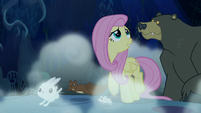 Fluttershy and animals walk through the forest at night S6E15