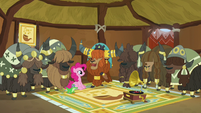 Pinkie, Prince Rutherford, and yaks in yak music hut