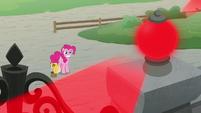 Pinkie Pie grinning at blaring alarm S9E14