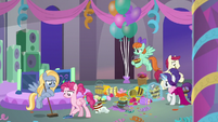 Rarity and students clean up the mess S9E7
