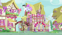 Spike and Discord walking into Ponyville S8E10