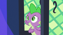 Spike entering the castle library S8E24
