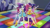 Sunny Flare, Rarity, Sour Sweet and Twilight on dance floor EGS1