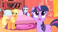 Twilight, AJ, and Rarity hear lightning S1E08