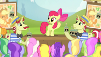 Apple Bloom speaking to the ponies S4E20