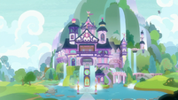 Exterior view of School of Friendship at morning S8E15