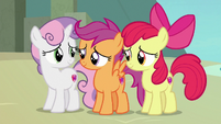 Scootaloo and Sweetie smiling apologetically S8E6