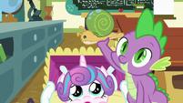 Spike holding Flurry Heart's Whammy toy S7E3