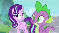 Starlight and Spike hear the school bell S8E15
