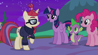 Twilight, Pinkie, and Spike say goodbye to Moon Dancer S5E12