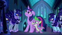 Twilight and Spike look at Nightmare Moon S5E26