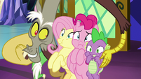 Discord squishes ponies' cheeks together S9E1