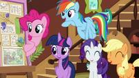 Main ponies amused by Pinkie's -Flutterbold- joke S7E5