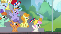 Ponies cheering in the bleachers S9E15