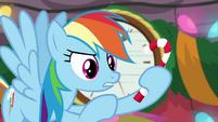 Rainbow Dash holding a candy cane BGES2