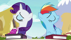 Rarity and Rainbow refuse to speak to each other S8E17.png