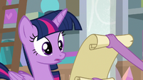 Spike showing the scroll to Twilight S8E25