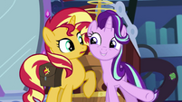 Starlight Glimmer suddenly standing next to Sunset EGS3