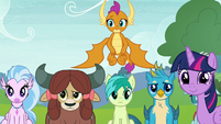 Twilight and students look at AJ and Rainbow S8E9