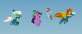 Wonderbolts fly around Twilight and Rainbow MLPTM