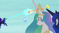 Celestia and Luna watch Nightmare Moon and Daybreaker battle S7E10