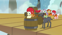 Cruise pony about to go over Falls in a barrel S7E22