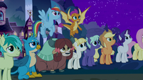 Main ponies and students look at the sky S8E21