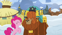 Pinkie bounces up and down in front of Rutherford S7E11