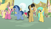 Ponies hanging out in Ponyville S9E22