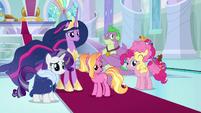 Princess Twilight and friends hear AJ and RD S9E26